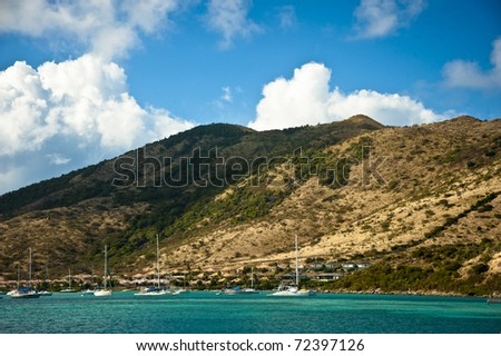 The mountains on St. Martin near Orient Bay are steep and quickly drop