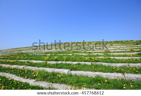 The mountaintop of the stone stairway - stock photo