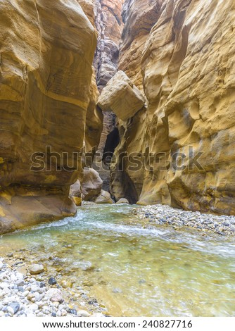 The Mujib Reserve of Wadi Mujib is the lowest nature reserve in the world, located in the mountainous landscape to the east of the Dead Sea - stock photo