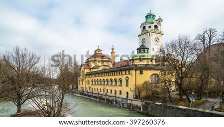 The Mullersches Volksbad building, Munich - stock photo