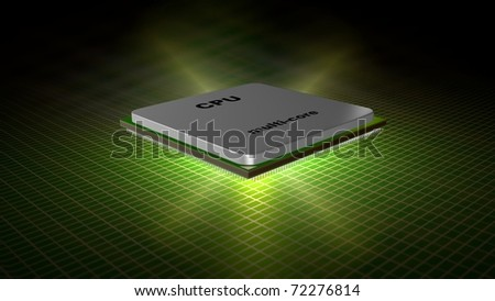 The multi core chip against an electronic plate. Energy explosion. - stock photo