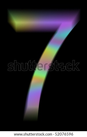 The multicolor number 7. Isolated on black background