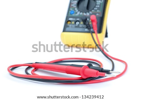 The multimeter test leads from the appliance. Close-up. - stock photo