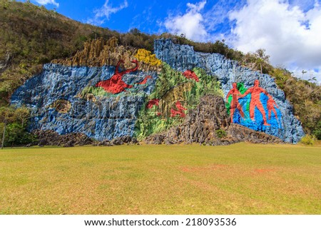 The Mural of Prehistory, Vinales Valley, Cuba - stock photo