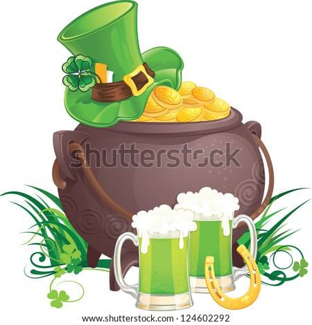 The mythical pot of gold, leprechaun hat and green beer for St. Patrick Day. - stock photo