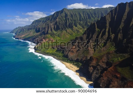 The Na Pali coast from the sky, Kauai Island, Hawaii, USA - stock photo