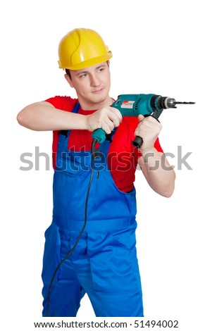 The nagging worker in uniform and hardhat with drill.