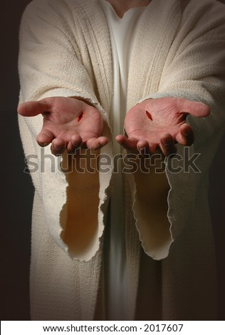 The Nail scared hands of Jesus - stock photo