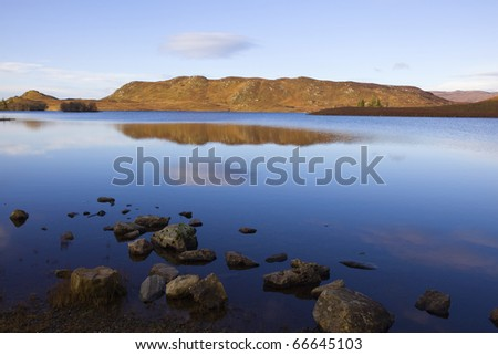 The nameless lake in the winter morning of Scotland - stock photo