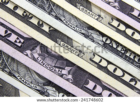 The names of the presidents on the dollar banknotes, closeup, background money - stock photo