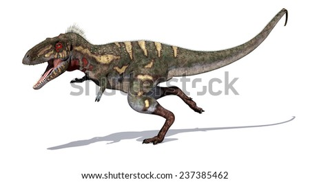 The Nanotyrannus dinosaur is a close relative of the Tyrannosaurus Rex; it lived during the Cretaceous Period - 3d render. - stock photo