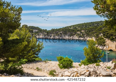 The narrow bays - fjords with rocky steep banks. National Park Calanques on the Mediterranean coast.   Provence, France, spring - stock photo