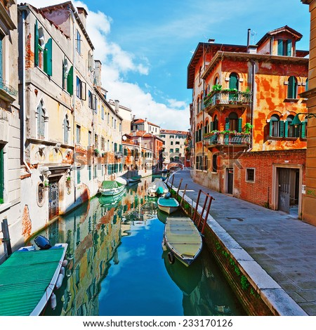 The Narrow Canal - the Street in Venice - stock photo