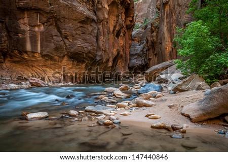 The Narrows - Zion National Park, UT.  - stock photo