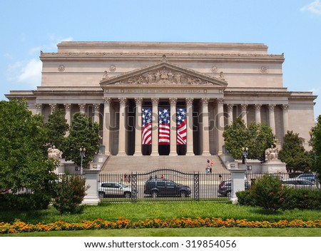 The National Archives of The United States of America, on Pennsylvania Ave. in Washington, D.C. , containing The Declaration of Independence, The Constitution, and others, on a summer day.  - stock photo
