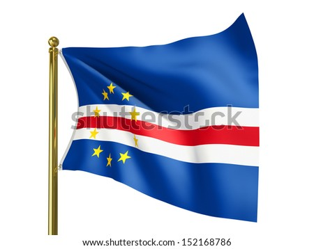 The national flag of Cape Verde isolated on a white background. Clipping path supplied with file.
