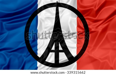 The national flag of France with peace and Eiffel Tower symbols. - stock photo