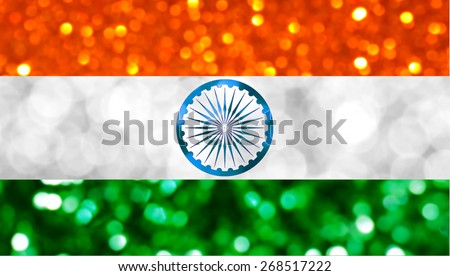 The National flag of India made of bright and abstract blurred backgrounds with shimmering glitter - stock photo