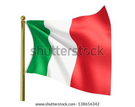 The national flag of Italy isolated on a white background. Clipping path supplied with file.
