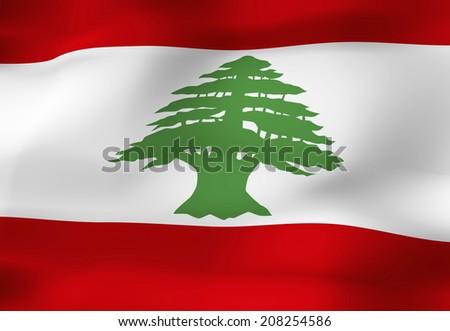The National Flag Of Lebanon - stock photo