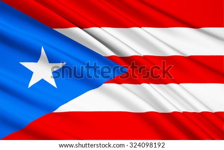 The national flag of Puerto Rico (United States) - San Juan - stock photo
