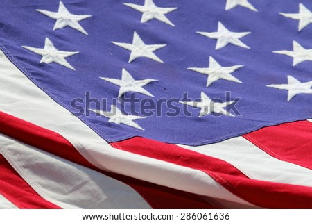 The national flag of the United States of America - stock photo