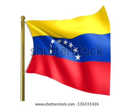 The national flag of Venezuela,  isolated on a white background. Clipping path supplied with file.