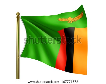 The national flag of Zambia isolated on a white background. Clipping path supplied with file. - stock photo