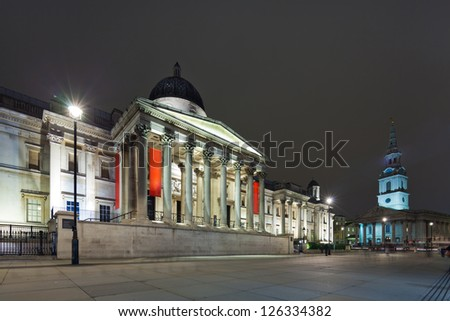 The National Gallery and St Martin's-in-the-Fields Church, London. Cityscape shot with tilt-shift lens, the vertical lines of the object stored - stock photo