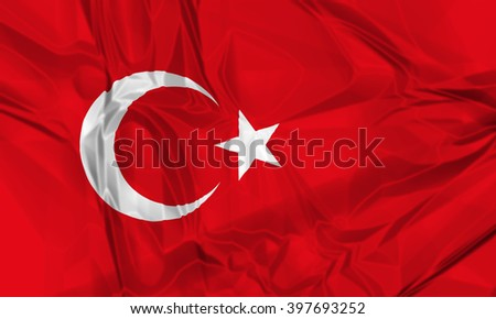 The national waving flag of Tuekey. red color with star and half moon, 3d background. - stock photo