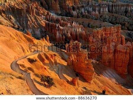 The Navajo Loop Trail at dawn at Bryce Canyon National Park, Utah - stock photo