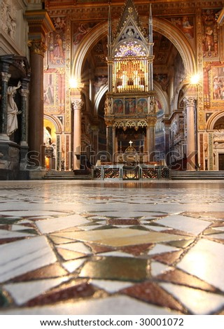 The nave of Basilica St John Lateran, Rome - stock photo