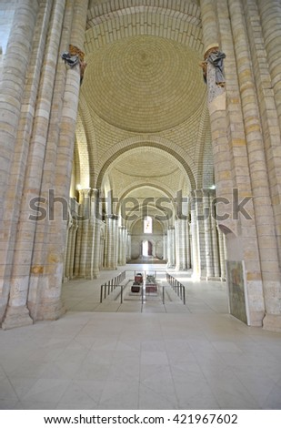 The nave of Fontevraud Abbey where the english kings Henry II and Richard the Lionheart are buried - stock photo