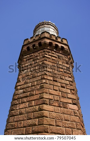 The Navesink Twin Lights lighthouse in NJ.  Side view of the North Tower - stock photo