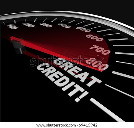 The needle on a speedometer points to great credit scores, speeding up to and past 800 - stock photo