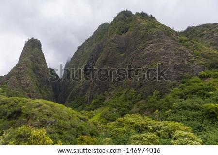 The needles at Iao Needles State Park, Maui, Hawaii, USA - stock photo