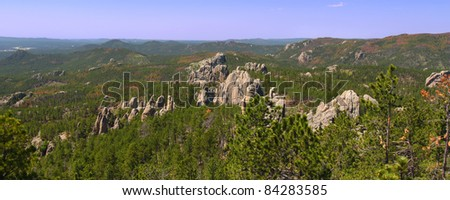 The Needles rock formations of Custer State Park in western South Dakota - stock photo