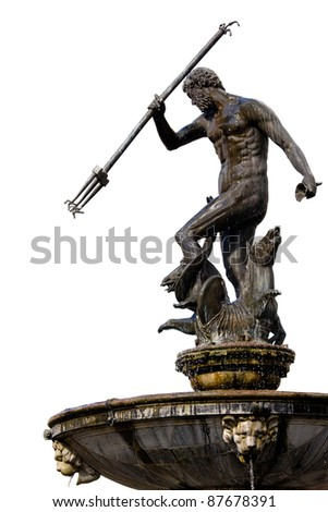 The Neptune, bronze statue of the Roman God of the Sea (Poseidon in Greek mythology) isolated on white background, originally located in the Old Town of Gdansk (Danzig), Poland - stock photo