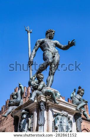 The Neptune Fountain in Piazza del Nettuno. Bologna - stock photo