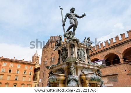 The Neptune Fountain in Piazza del Nettuno. Bologna, Emilia Romagna, Italy - stock photo