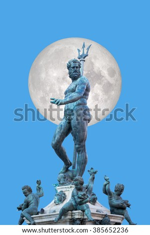"The Neptune Fountain in Piazza del Nettuno. Bologna, Italy""Elements of this image furnished by NASA"" - stock photo"