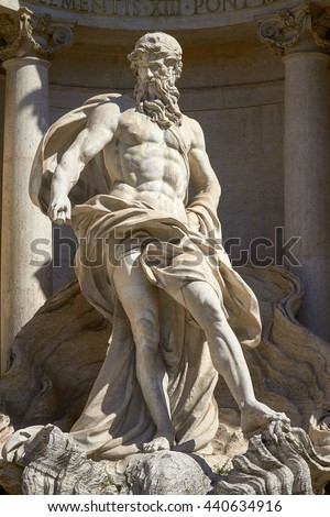 The Neptune Statue of the Trevi Fountain in Rome Italy