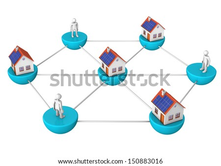 The network with houses and white toons. White background. - stock photo