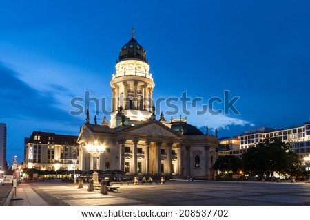 The Neue Kirche (English: New Church; colloquially Deutscher Dom, i.e. German Church), is located in Berlin on the Gendarmenmarkt across from French Church of Friedrichstadt (French Church) - stock photo
