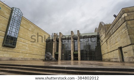 The Neue Pinakothek (New Pinakothek) with Cloudy Sky Background, Munich, Germany - 3 Feb 2016: Its focus is European Art of the 18th and 19th century.