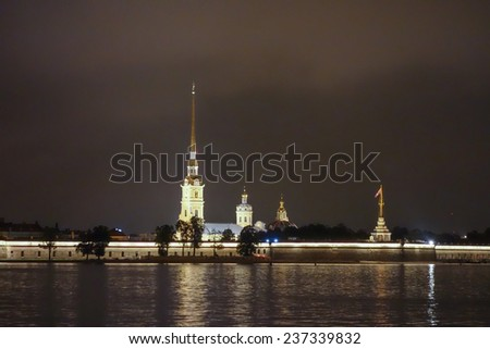 The Neva River flowing through the city of Saint Petersburg in Russia