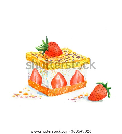 the new and fresh delicious cake with berries triangular piece watercolor hand drawn isolated on the white background