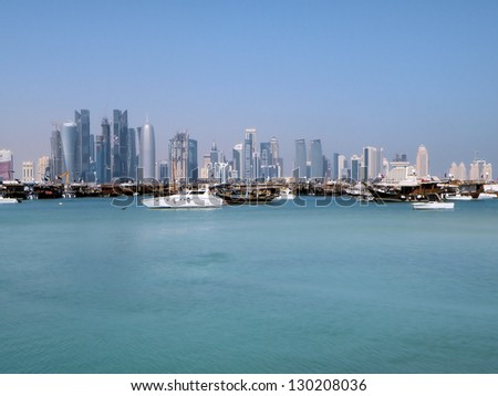 The new CBD rises above typical Arabian junks in Doha' harbour
