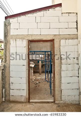 The New door on under consturction of home improvement - stock photo