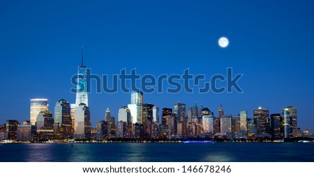 The new Freedom Tower and Lower Manhattan Skyline At Night - stock photo